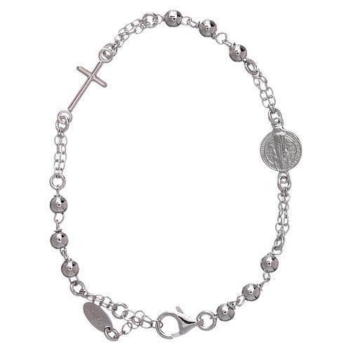 Bracciale AMEN Arg 925 con sfere medaglia e croce 2