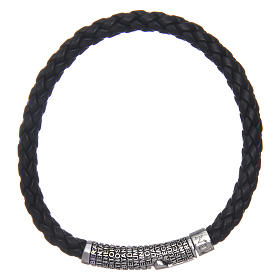 Amen bracelet in black woven leather Pater Noster s1