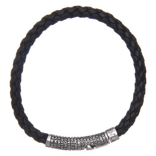 Amen bracelet in black woven leather Pater Noster 1