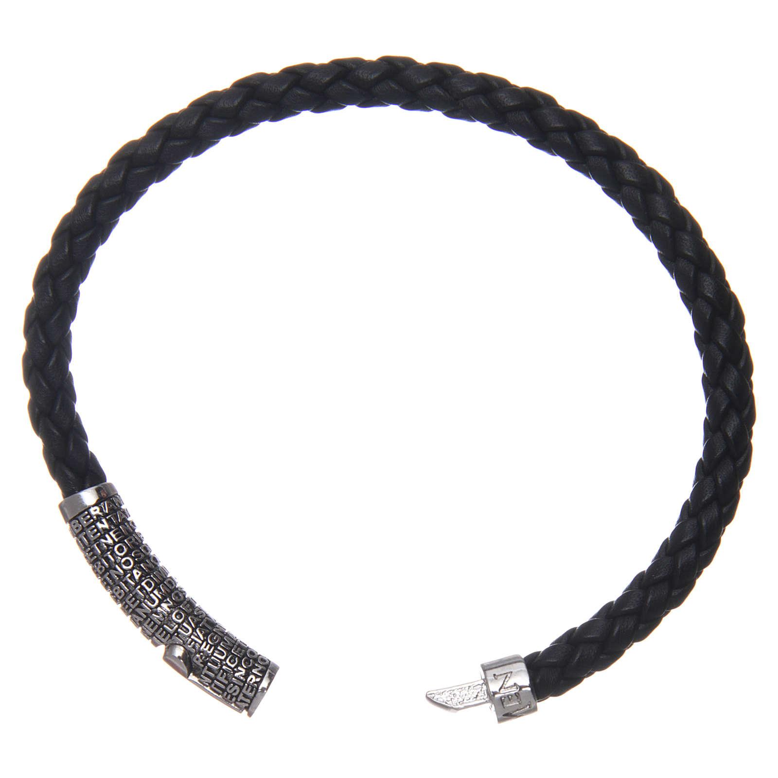 Bracelet AMEN cuir noir tressé Pater Noster 4