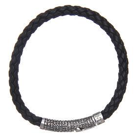 Bracelet AMEN cuir noir tressé Pater Noster s1