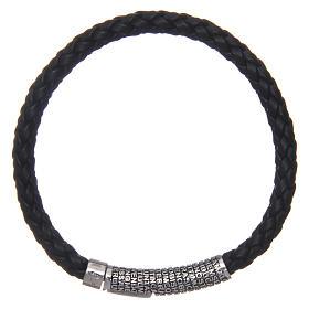 Bracelet AMEN cuir noir tressé Pater Noster s2