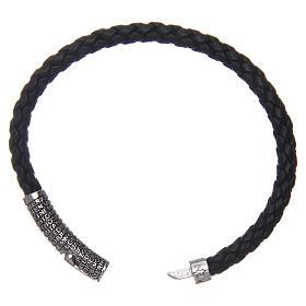 Bracelet AMEN cuir noir tressé Pater Noster s3