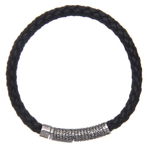 Bracelet AMEN cuir noir tressé Pater Noster 2