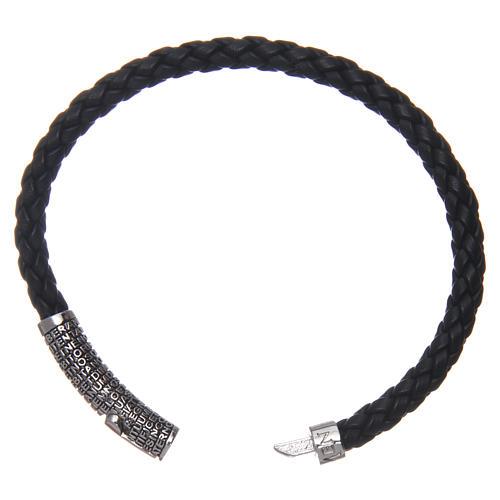 Bracelet AMEN cuir noir tressé Pater Noster 3