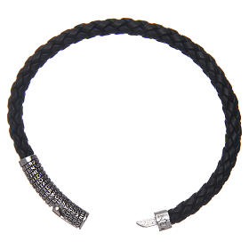 Amen bracelet in black woven leather Pater Noster s3