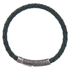 AMEN bracelets: Amen bracelet in green woven leather Pater Noster