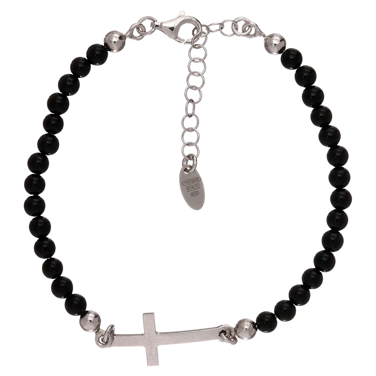 Bracelet sphères onyx 4 mm et croix argent 925 AMEN 4