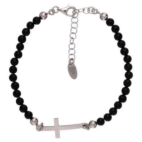 Bracelet sphères onyx 4 mm et croix argent 925 AMEN 1