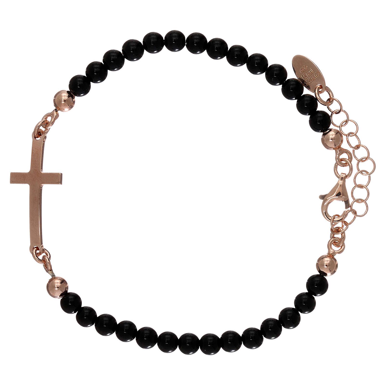 Bracelet sphères onyx 4 mm et croix argent 925 rosé AMEN 4