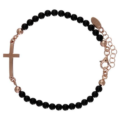 Bracelet sphères onyx 4 mm et croix argent 925 rosé AMEN 1
