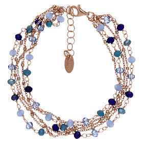 Bracciale AMEN argento 925 rosé e cristalli cangianti blu s1