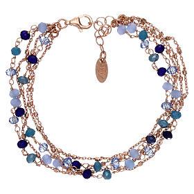 Bracciale AMEN argento 925 rosé e cristalli cangianti blu s2