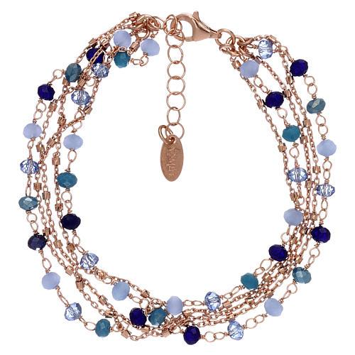 Bracciale AMEN argento 925 rosé e cristalli cangianti blu 1