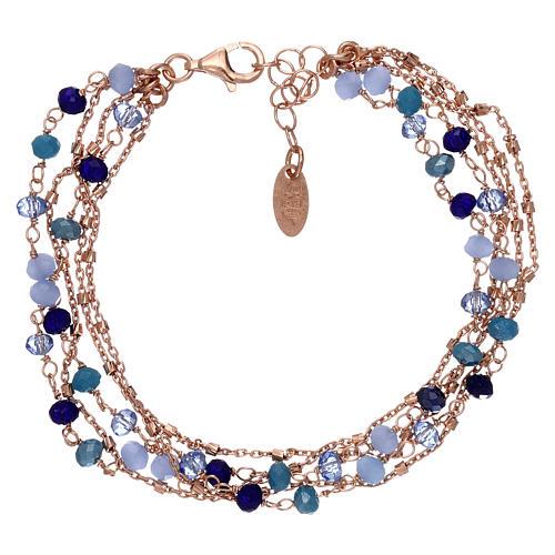 Bracciale AMEN argento 925 rosé e cristalli cangianti blu 2