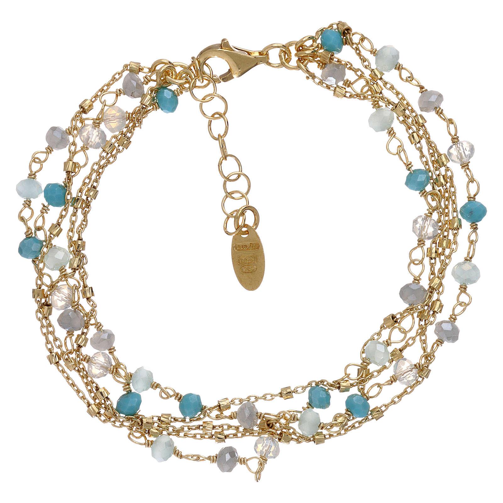 Bracelet AMEN argent 925 doré et cristaux nuances bleu clair 4