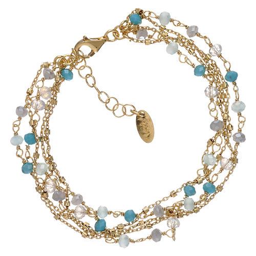 Bracelet AMEN argent 925 doré et cristaux nuances bleu clair 1
