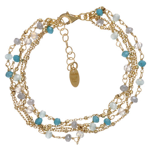 Bracelet AMEN argent 925 doré et cristaux nuances bleu clair 2