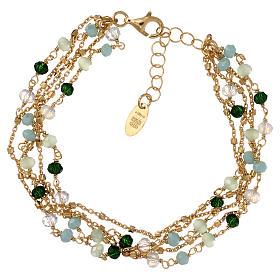 Bracelet AMEN argent 925 doré et cristaux nuances vert s1