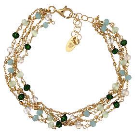 Bracelet AMEN argent 925 doré et cristaux nuances vert s2