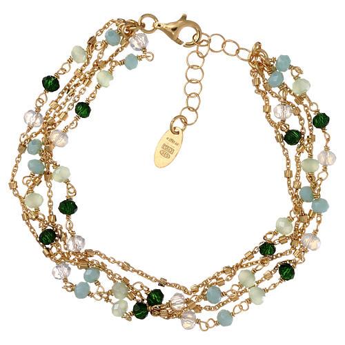 Bracelet AMEN argent 925 doré et cristaux nuances vert 1