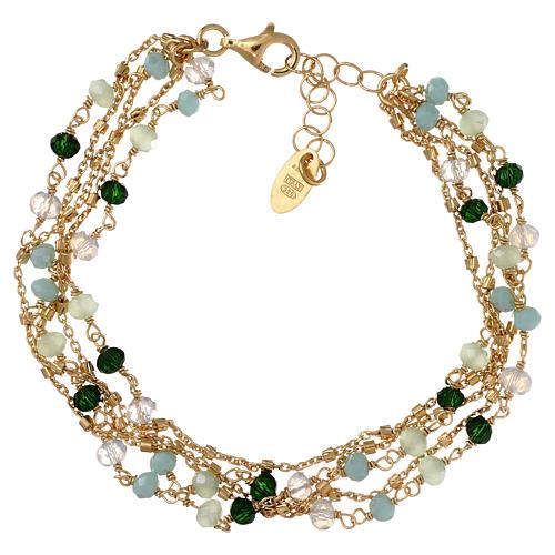 Bracelet AMEN argent 925 doré et cristaux nuances vert 2