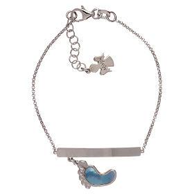 Bracelet AMEN argent 925 avec pied nacre bleue s1