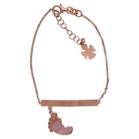 Bracelet AMEN argent 925 rosé avec pied nacre rose s1