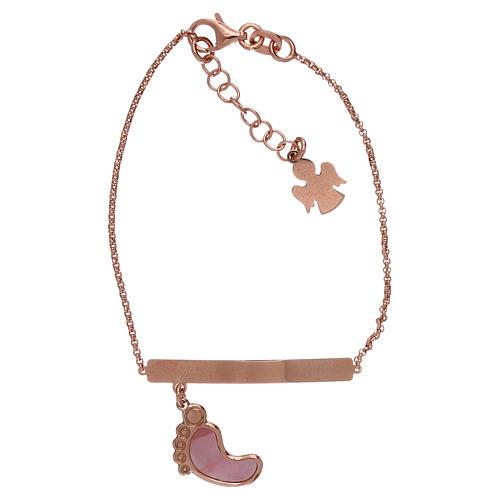 Bracelet AMEN argent 925 rosé avec pied nacre rose 1