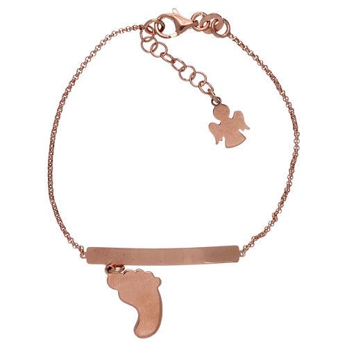 Bracelet AMEN argent 925 rosé avec pied nacre rose 2