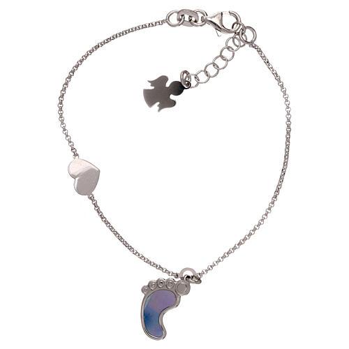 Bracelet AMEN pendentif pied nacre bleue argent 925 1