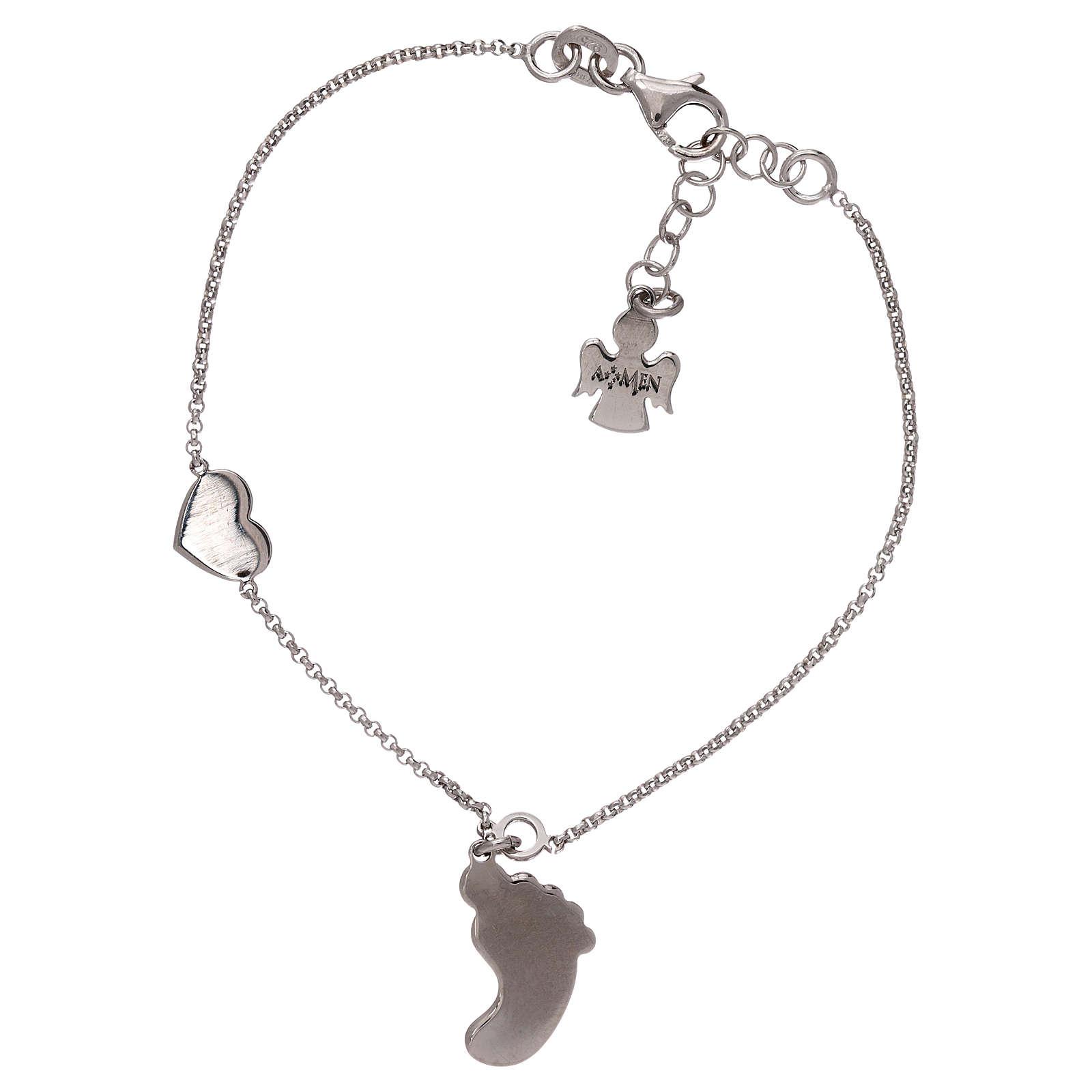 Bracelet AMEN pendentif pied nacre rose argent 925 4