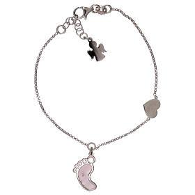 Bracelet AMEN pendentif pied nacre rose argent 925 s1