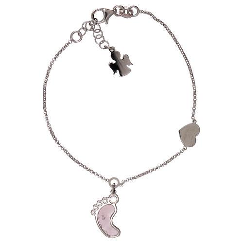 Bracelet AMEN pendentif pied nacre rose argent 925 1