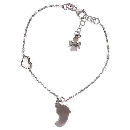 Bracelet AMEN pendentif pied nacre rose argent 925 2