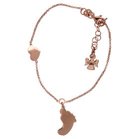AMEN bracelet in pink 925 silver with foot-shaped pendant and heart s2