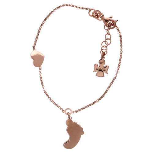 AMEN bracelet in pink 925 silver with foot-shaped pendant and heart 2