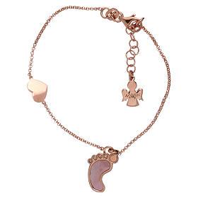 Pulsera plata 925 rosada con colgante forma pie y corazón AMEN s1