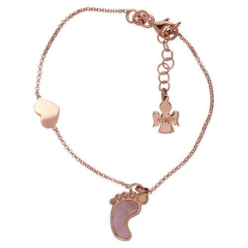 Pulsera plata 925 rosada con colgante forma pie y corazón AMEN 1