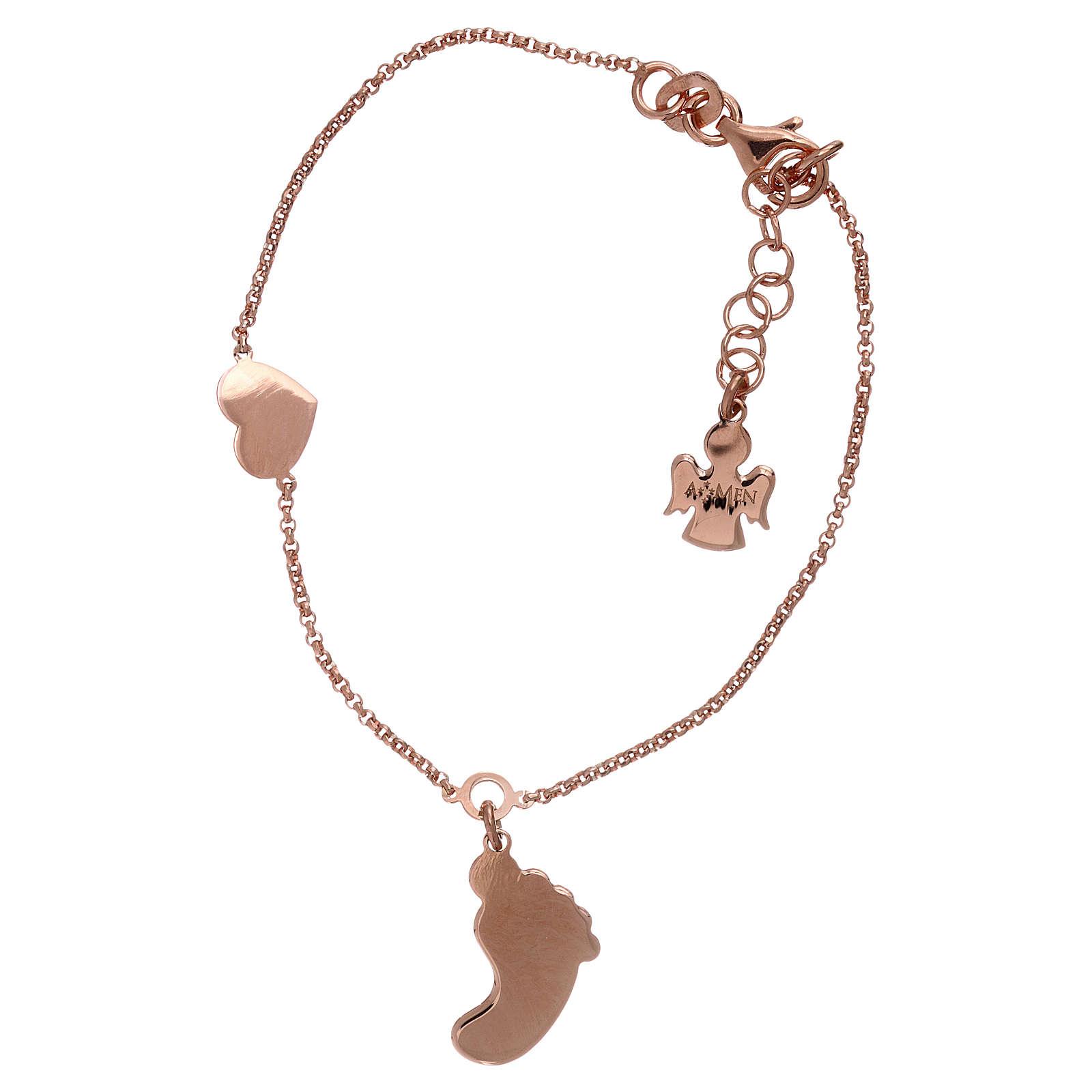 Bracciale argento 925 rosé con pendente forma piede e cuore AMEN 4