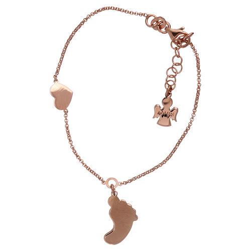Bracciale argento 925 rosé con pendente forma piede e cuore AMEN 2