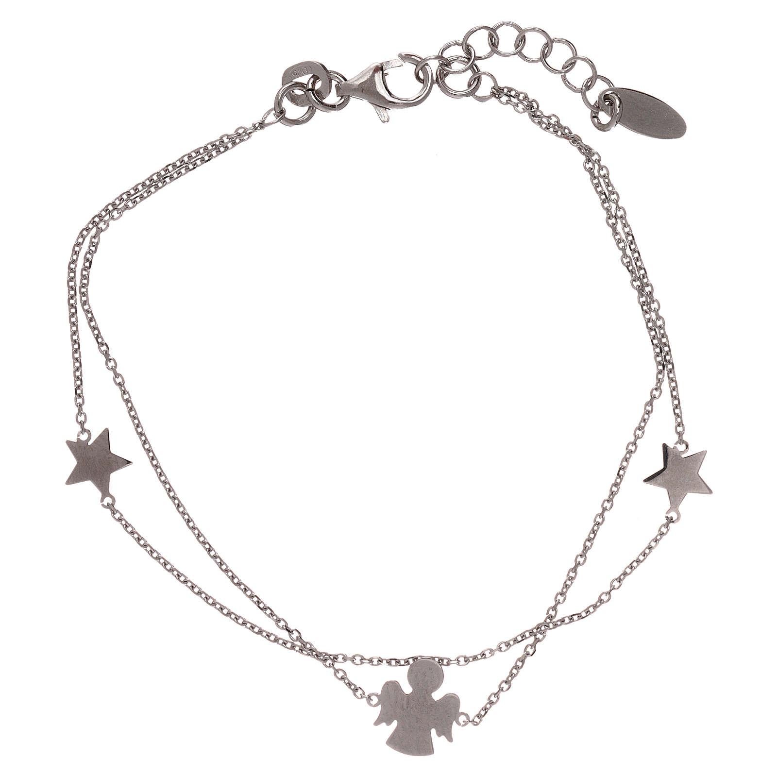 Bracelet AMEN argent 925 avec ange et étoiles 4