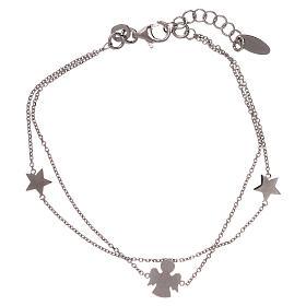 Bracelet AMEN argent 925 avec ange et étoiles s1