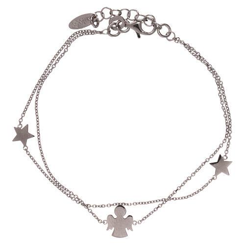 Bracelet AMEN argent 925 avec ange et étoiles 2