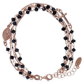 Bracelet argent 925 rosé et zircons noirs AMEN s1