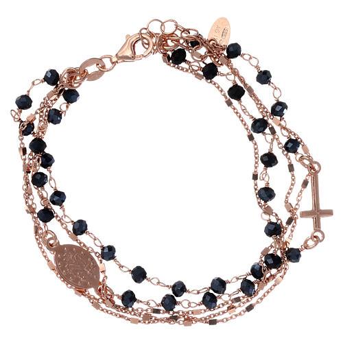 Bracelet argent 925 rosé et zircons noirs AMEN 2