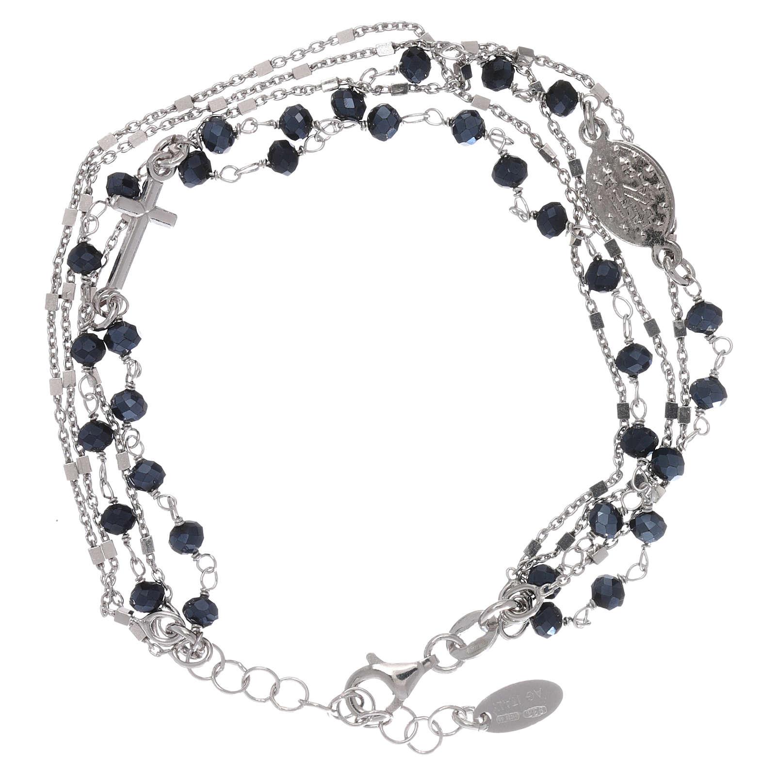 Bracelet argent 925 et cristaux gris et noirs AMEN 4