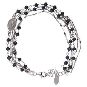Bracelet argent 925 et cristaux gris et noirs AMEN s1
