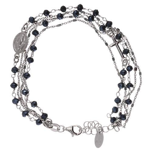 Bracelet argent 925 et cristaux gris et noirs AMEN 1