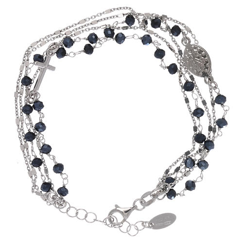 Bracelet argent 925 et cristaux gris et noirs AMEN 2